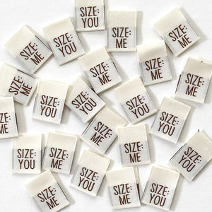 "Kylie and the Machine - ""SIZE: ME / SIZE: YOU"" Pack of 8 Woven Labels"