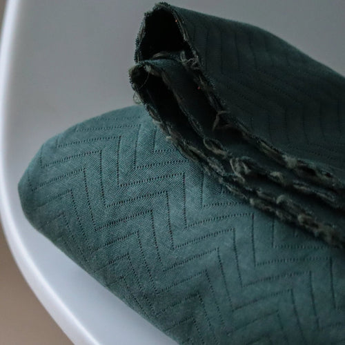 Mind The MAKER - Organic Chevron Quilt Knit Dark Green 160cm wide
