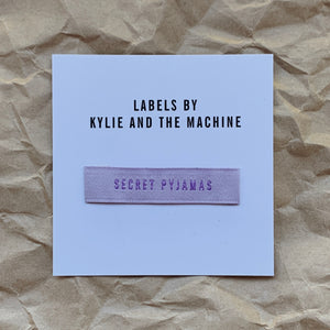 "Kylie and the Machine - ""SECRET PYJAMAS"" Pack of 8 Woven Labels"