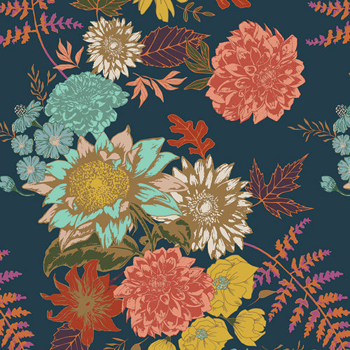 REMNANT 0.58 meter Art Gallery Fabrics - Floral Glow Twilit in Knit from Autumn Vibes