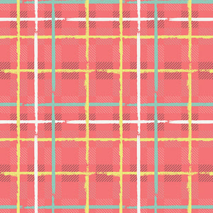 REMNANT 1.09 meter Art Gallery Fabrics - Electric Watermelon Plaid Knit Fabric