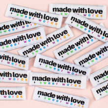 "Kylie and the Machine - ""MADE WITH LOVE AND SWEAR WORDS"" Pack of 8 Woven Labels"