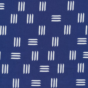 Cloud 9 Organic Lines & Shapes Canvas - Dashes Indigo Blue