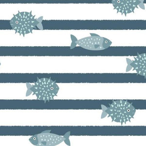 Ocean Life Cotton Jersey - Grey/Blue/White