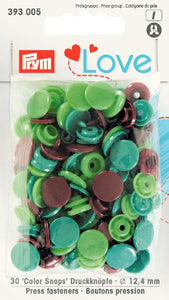 Prym Assorted Greens/ Brown Non-sew Colour Snaps - 12.4mm 30 Pieces