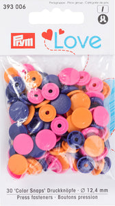 Prym Assorted Orange/ Pink/ Purple Non-sew Colour Snaps - 12.4mm 30 Pieces