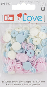 Prym Assorted Pale Pink/ Light Blue/ Purple Non-sew Colour Snaps - 12.4mm 30 Pieces