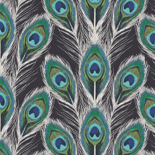REMNANT 1.88 meters Art Gallery Fabrics - Paon Plumes Royal Rayon Fabric from Decadence