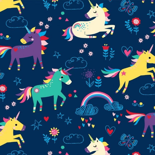 Rainbow Unicorns Cotton Jersey