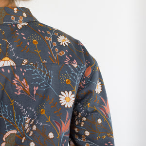 See You At Six - Flower Field Cotton Gabardine Twill Night Blue