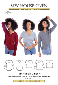 Sew House Seven - Tabor V- Neck Tee / Sweater Sewing Pattern