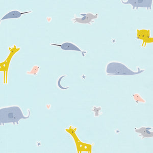 Cloud 9 Tout Petit Animal Parade Blue Organic Sheeting Fabric