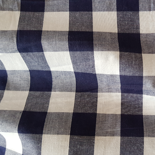 Navy Gingham Dress Fabric with 1 Inch check