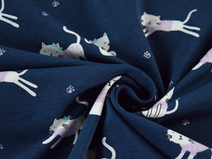 REMNANT  0.86 Meter   Cute Cats Glitter Cotton Jersey