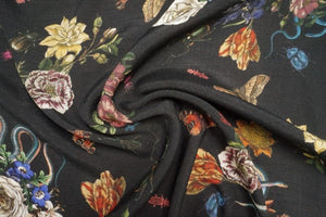 Lady McElroy - Cobra Corsage Black Viscose Linen-Look Crepe Fabric