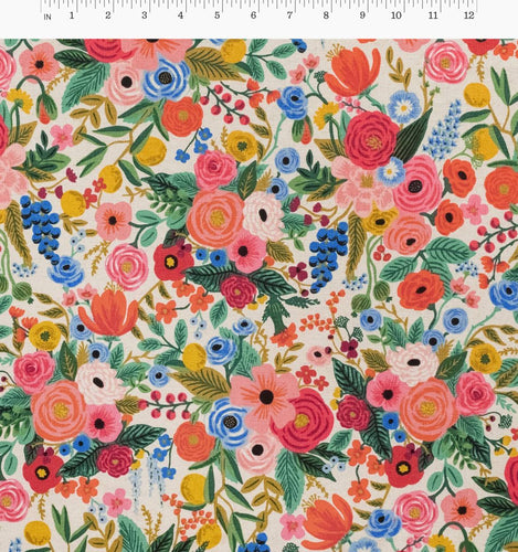 Rifle Paper Co - Garden Party Pink Cotton Linen Canvas from Wildwood