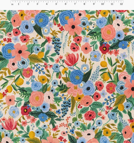 Rifle Paper Co - Garden Party Blue Cotton Linen Canvas from Wildwood