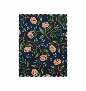 Rifle Paper Co - Peonies Blue Cotton Linen Canvas from Wildwood
