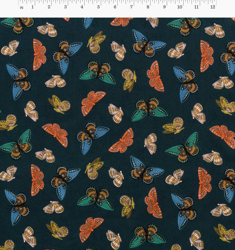 Rifle Paper Co - Monarch in Navy Cotton Lawn Metallic Gold