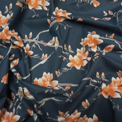Lady McElroy - Flora Songbird Navy Cotton Lawn Dress Fabric