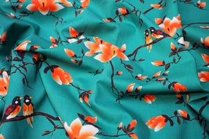 Lady McElroy - Flora Songbird Jade Cotton Lawn Dress Fabric