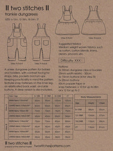 Two Stitches - Frankie Dungarees or Dress Sewing Pattern 6 months - 2 years
