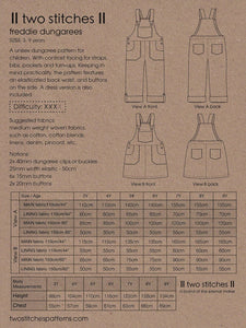 Two Stitches - Freddie Dungarees or Dress Sewing Pattern 3-9 years