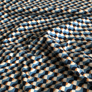Geometric Waves Blue - Cotton Jersey