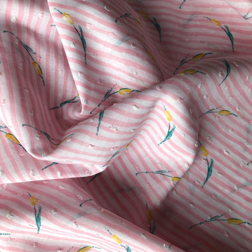REMNANT 0.70 meter Aquatic Typha Cotton Dobby Dress Fabric