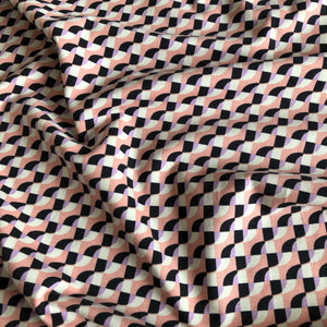 Geometric Waves Pink - Cotton Jersey
