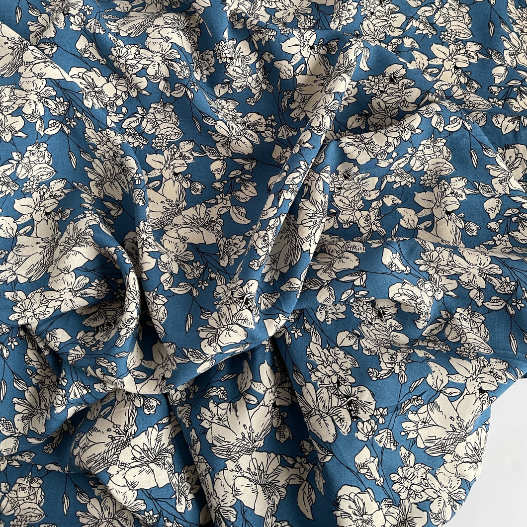 Monochrome Bouquet Teal Viscose Fabric