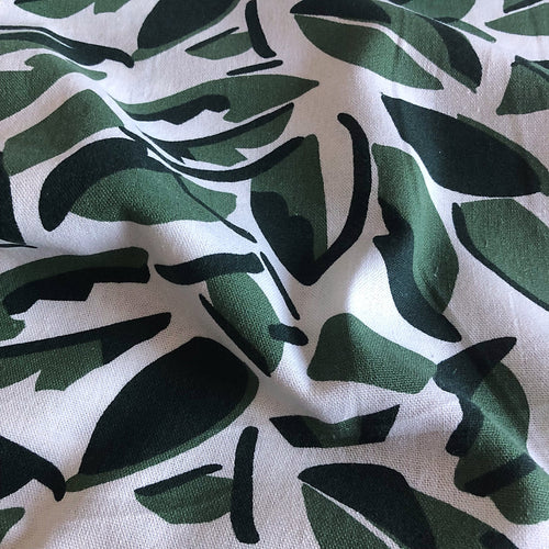 Abstract Tropical Foliage Linen Viscose Blend