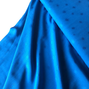 REMNANT 0.98 meter Viscose Jacquard Intense Blue Dress Fabric