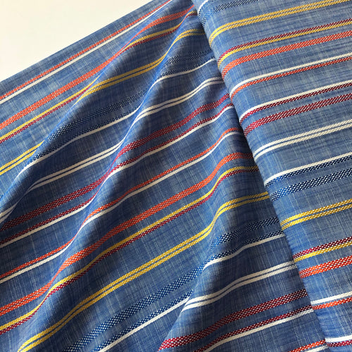 REMNANT 0.62 meter Summer Flow with Red Stripe Viscose Dress Fabric