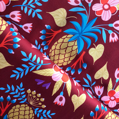 At The Beach - Sweet Pineapple Wine Cotton Satin