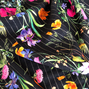 Wild Flower Sparkle Rayon / Viscose dress fabric