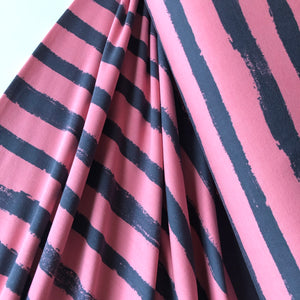 Groovy Stripes Old Rose / Gray Cotton French Terry