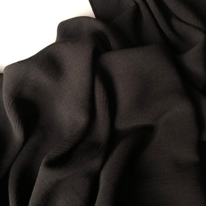 Crinkled Viscose Black Dress Fabric