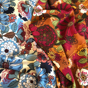 Dahlia And Daisy Blue Rayon / Viscose Dress Fabric