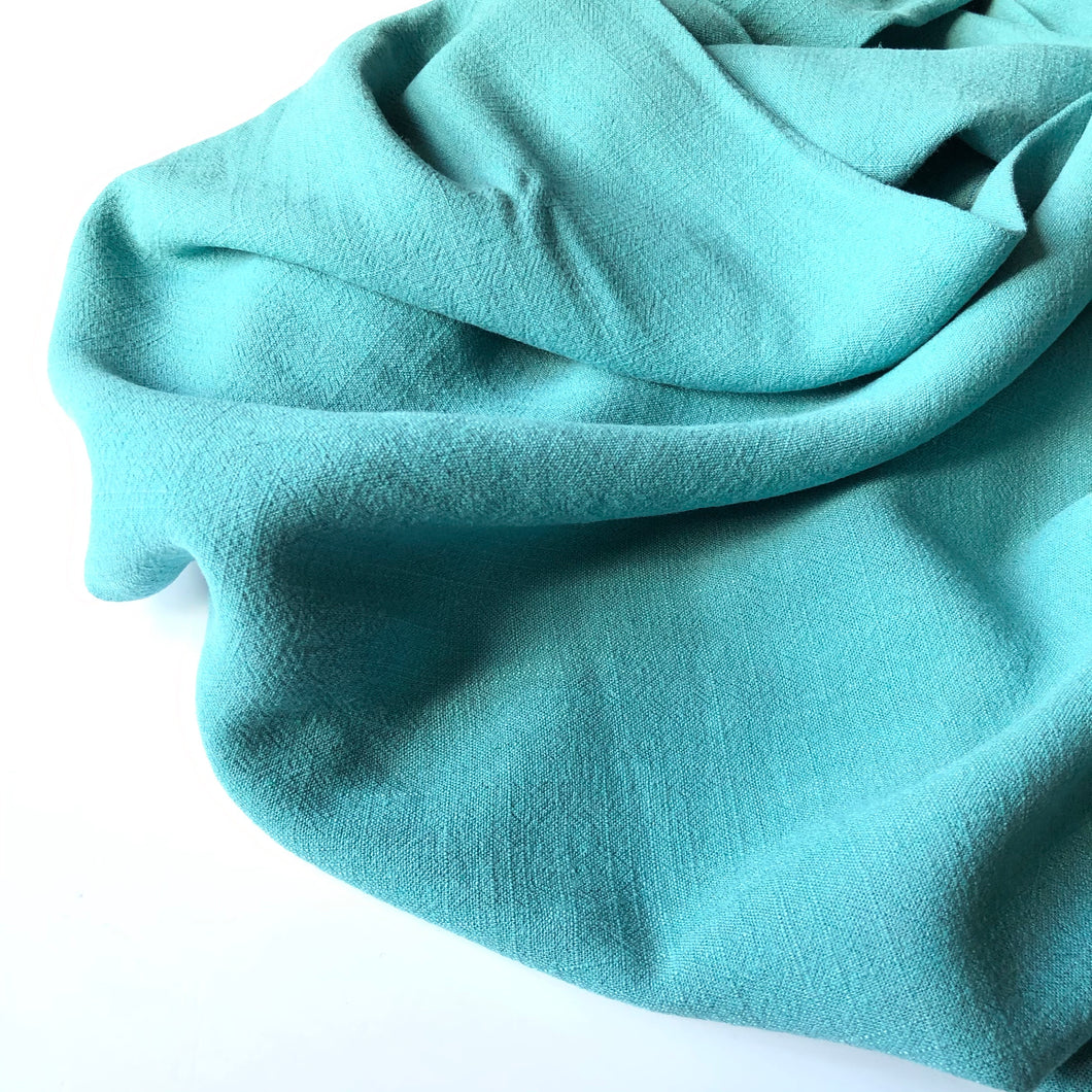 REMNANT 1.12 meters Flow Blue Turquoise Viscose Linen Blend Dress Fabric