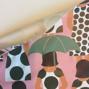 Umbrellas in the crowd -  Water resistant raincoat fabric.