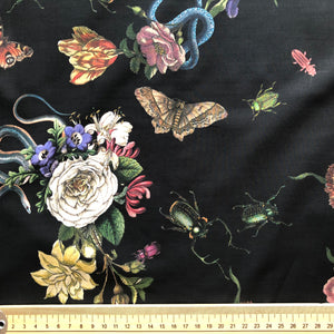 REMNANT 0.70 meter Lady McElroy - Cobra Corsage Black Cotton Lawn