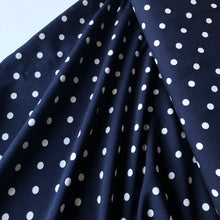 Classic Polka Dot Dark Navy Viscose Dress Fabric