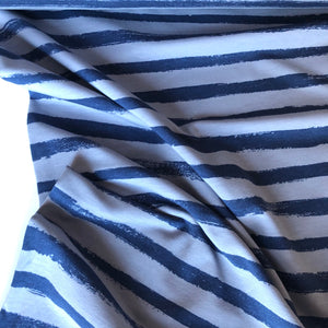 Groovy Stripes Stone/Navy Cotton French Terry