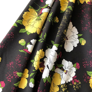 REMNANT 0.75 meter Bright Bouquet Black Viscose Dress Fabric