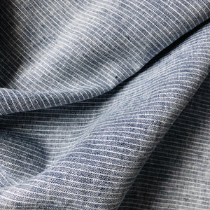 Grey Small Stripes Linen Cotton Blend Fabric