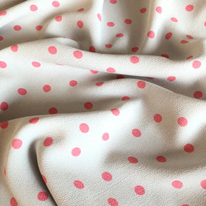 Lady McElroy - Campari Polka Sorbet  Viscose Crepe Dress Fabric