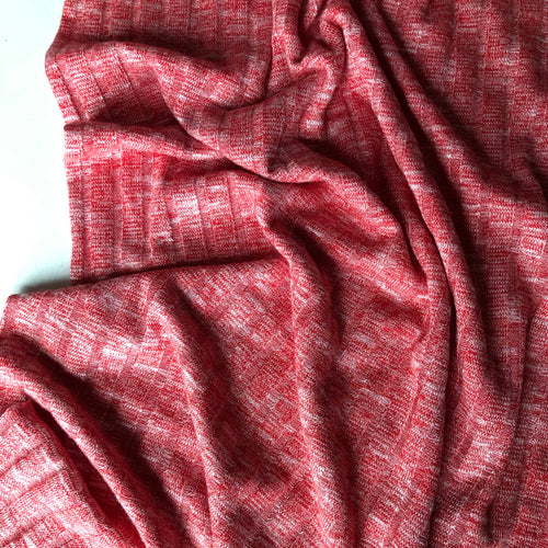 Melange Coral Wide Rib Knit Fabric