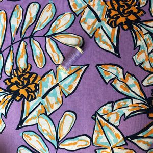 REMNANT 0.39 meter Stenciled Garden Lilac Linen Viscose Dress Fabric