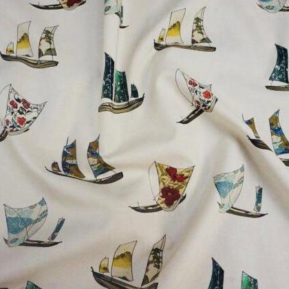 Vintage Sailing Cotton Lawn Dress Fabric